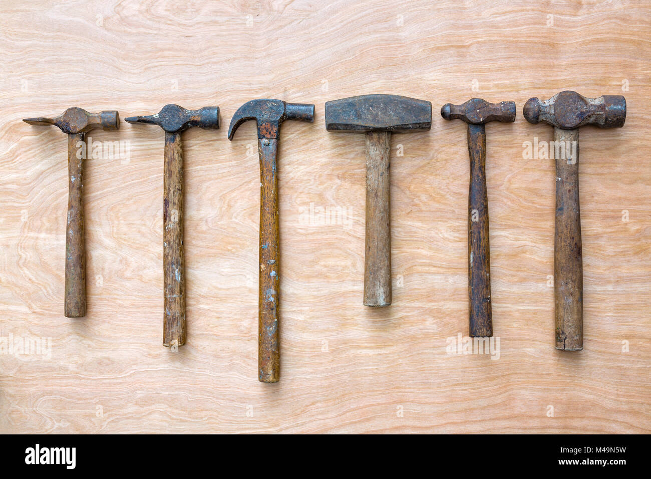 A collection of old hammers - Stock Image