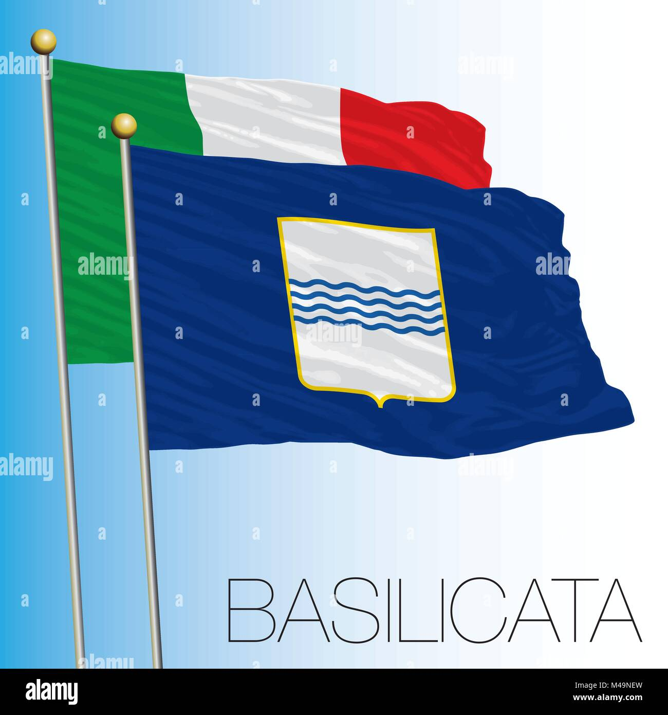 Basilicata regional flag, Italian Republic, Italy, European Union - Stock Vector