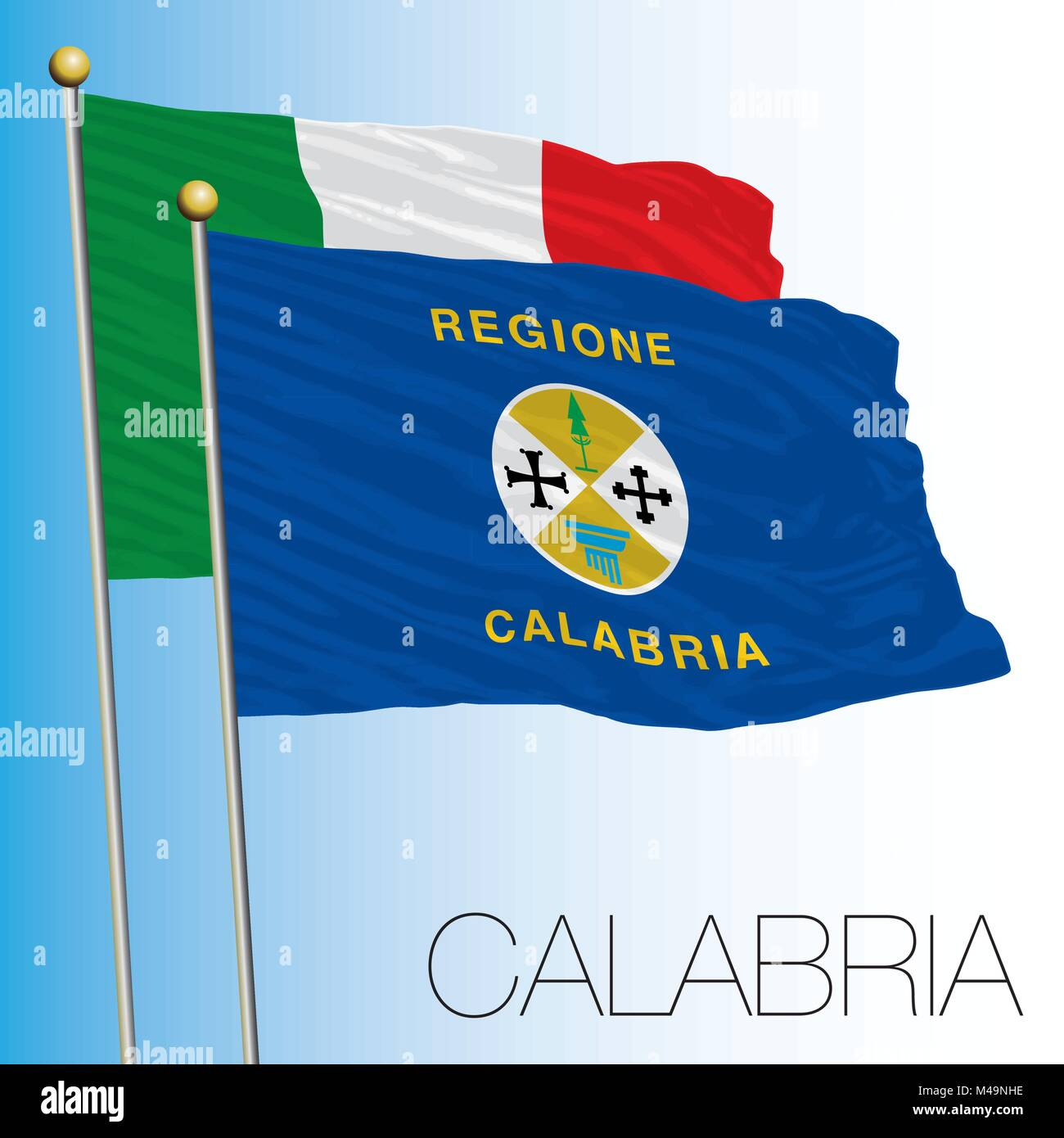 Calabria, regional flag, Italian Republic, Italy, European Union - Stock Vector