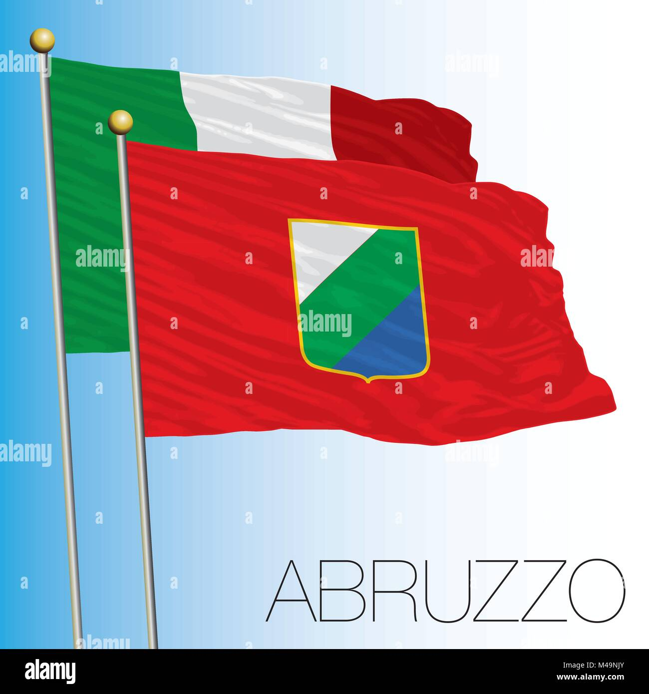 Abruzzo regional flag, Italian Republic, Italy, European Union - Stock Vector