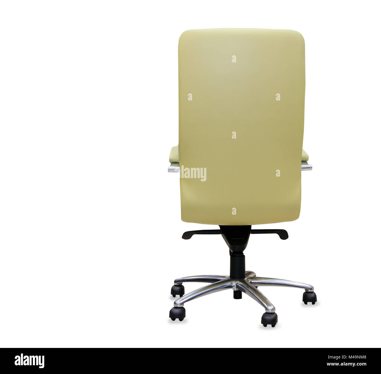 office chair back view. Back View Of Modern Office Chair From Black Leather. Isolated