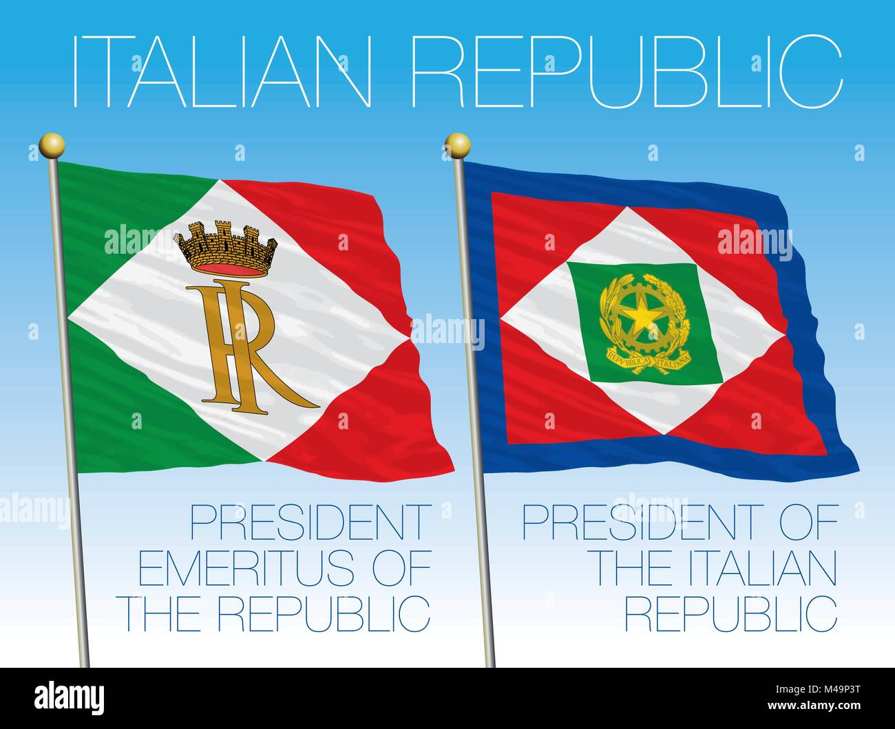 Presidential flags, Italian Republic, Quirinale, Rome, Italy - Stock Vector