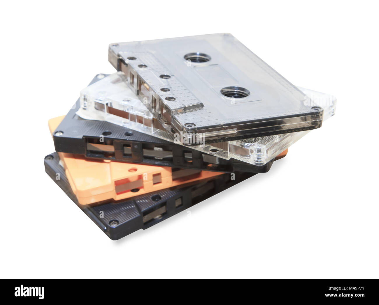 group of Old cassette tapes on white background - Stock Image