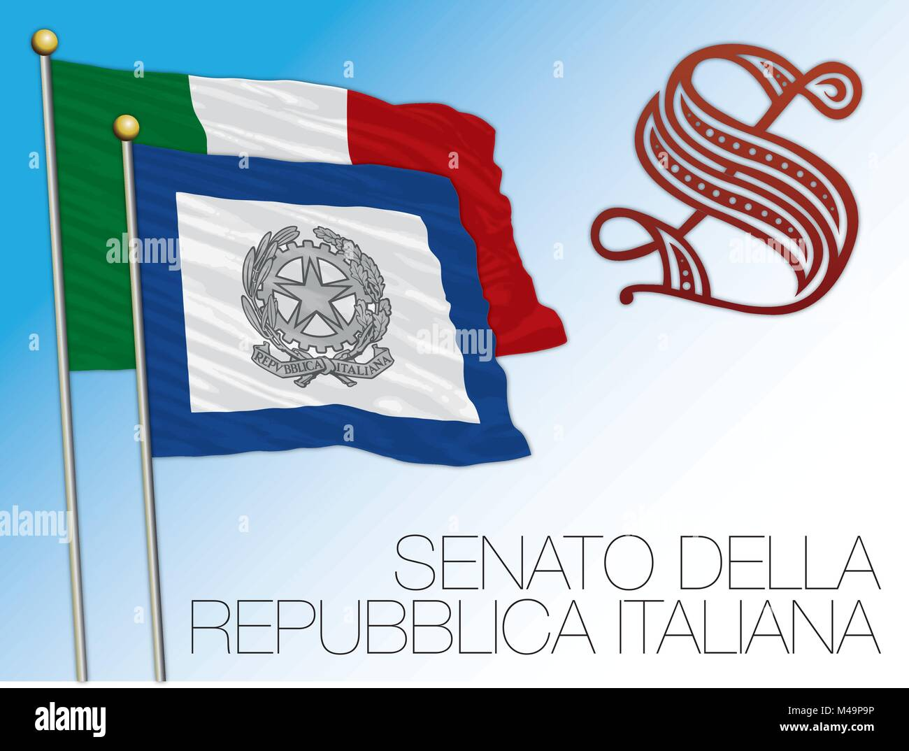 Italian Coast Guard flag, Italy, Guardia Costiera - Stock Vector