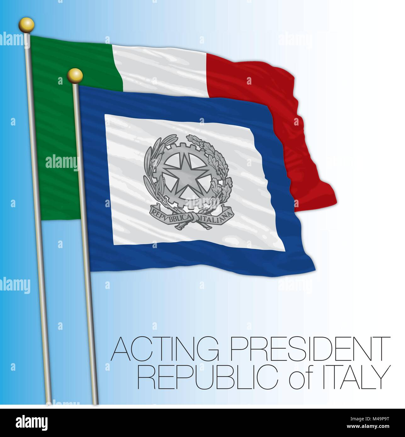 Acting president of the Senate flag, Italian Republic, Italy - Stock Vector