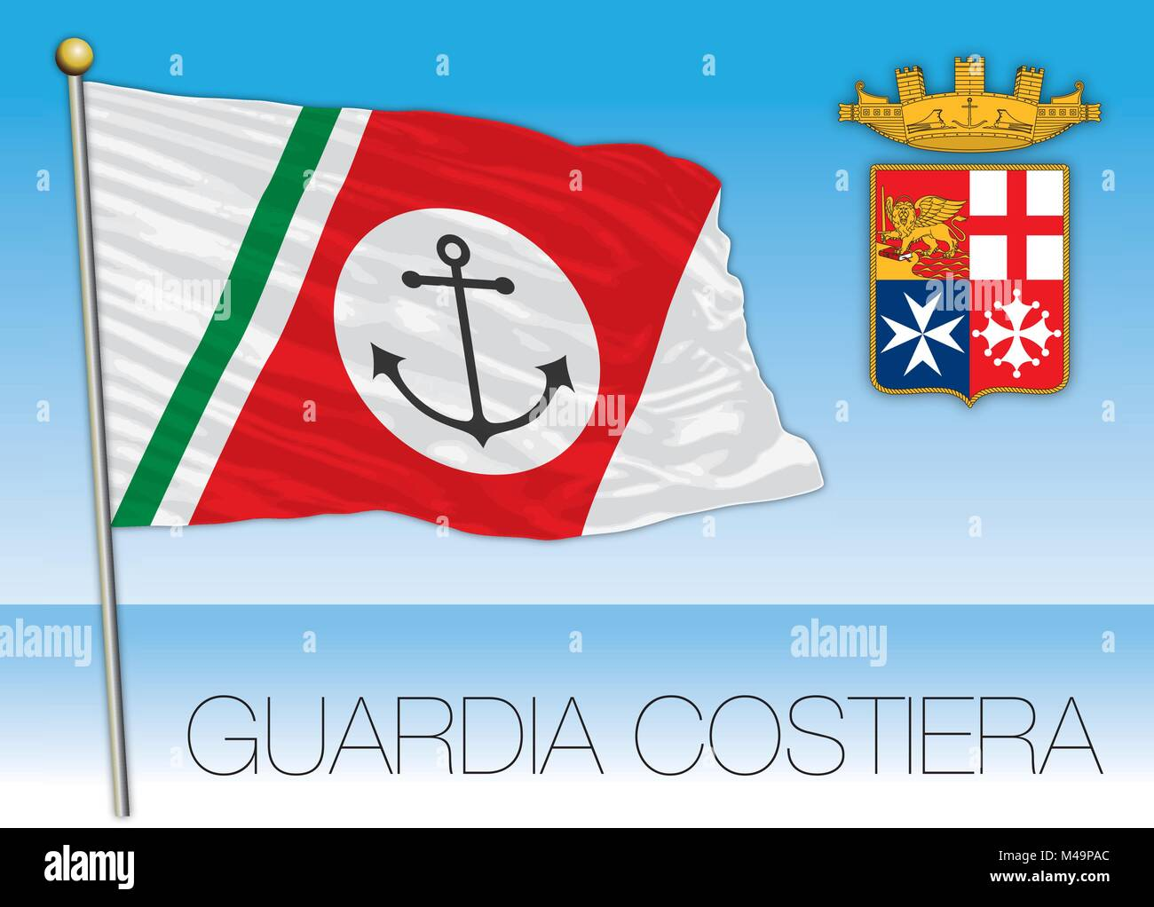 Italian Coast Guard, Guardia Costiera flag, Italy - Stock Vector