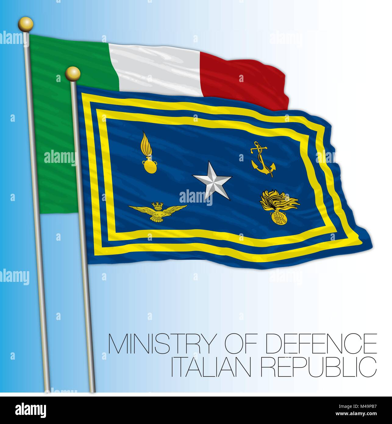 Italian Republic, Ministry of defence flag, Italy - Stock Vector