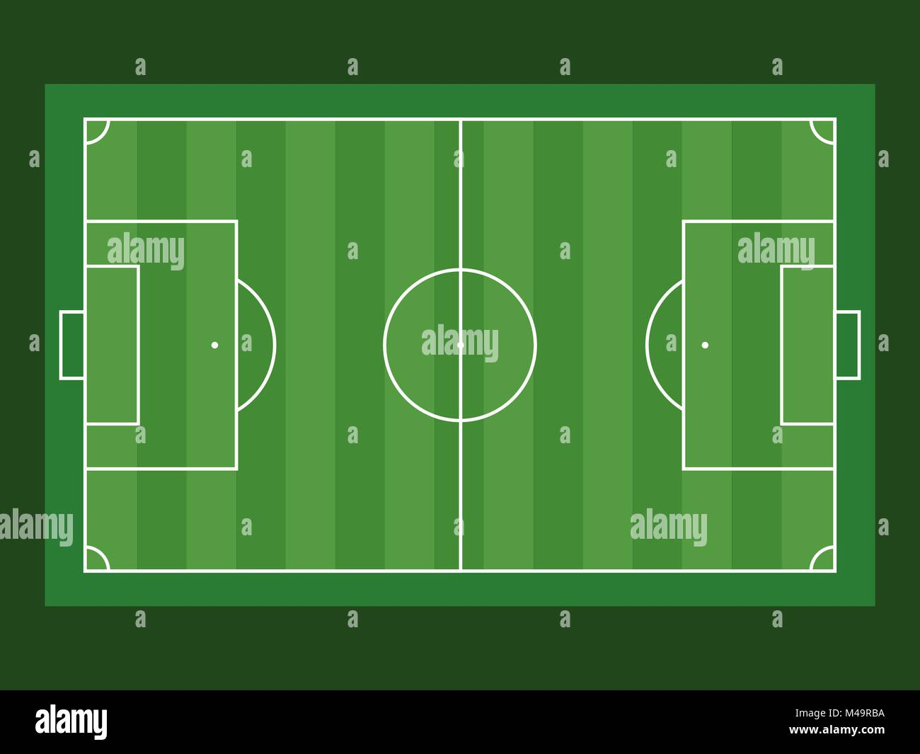 Football field aerial view on green background. Flat vector illustration - Stock Vector