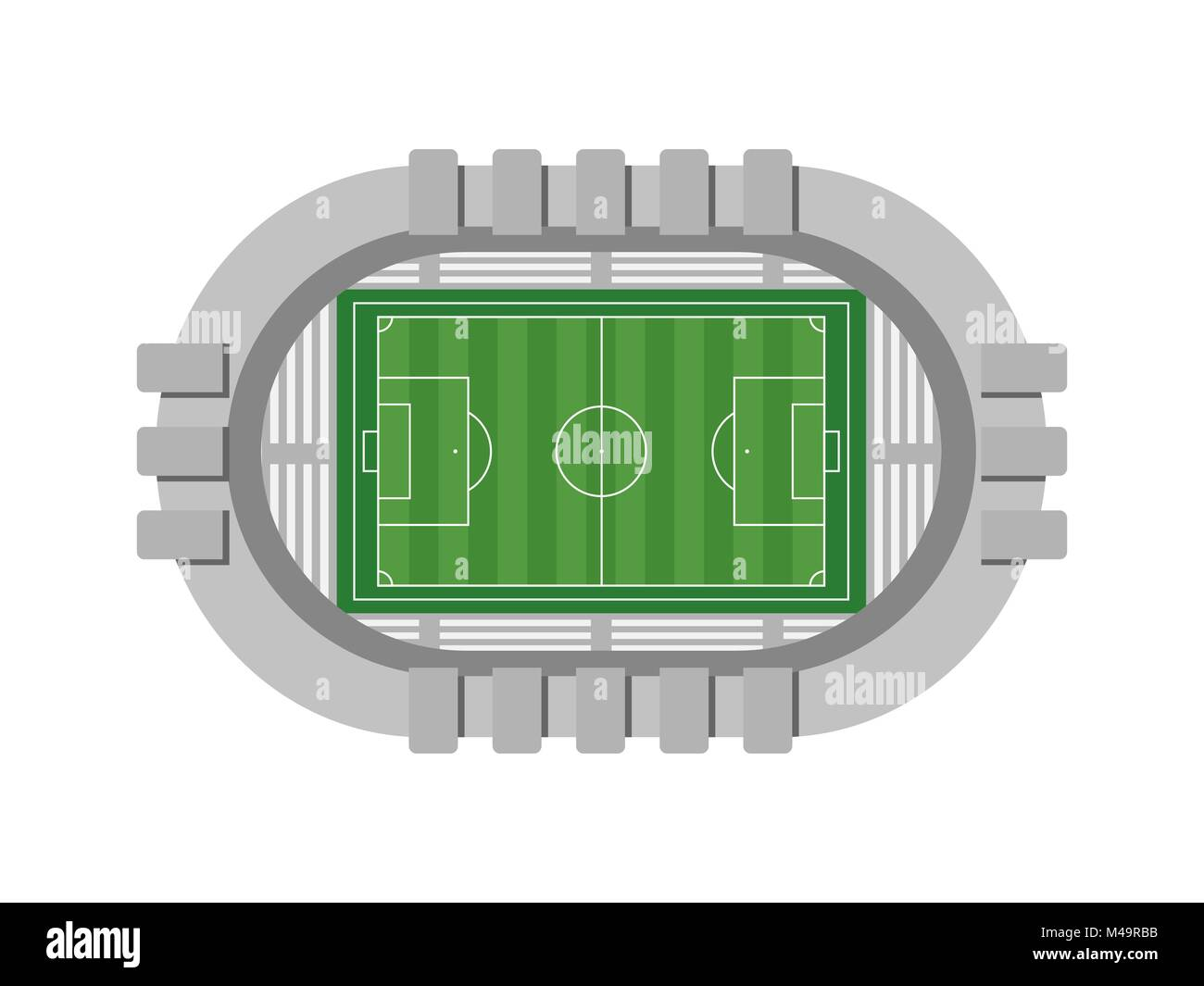 Football stadium aerial view on white background. Vector illustration - Stock Vector