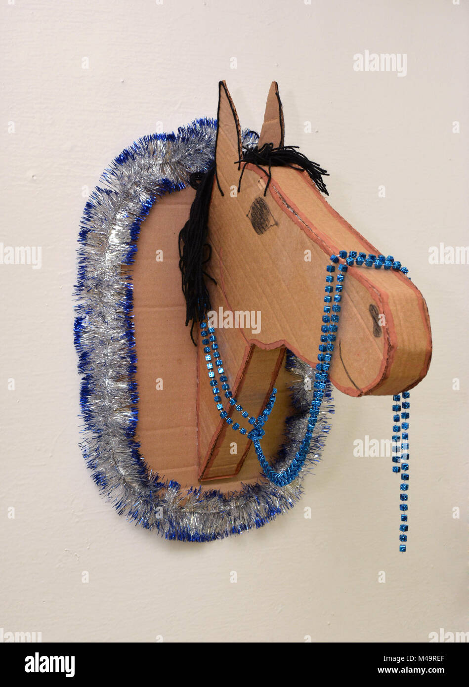 The Horse S Head Made Of Cardboard Packaging Stock Photo Alamy