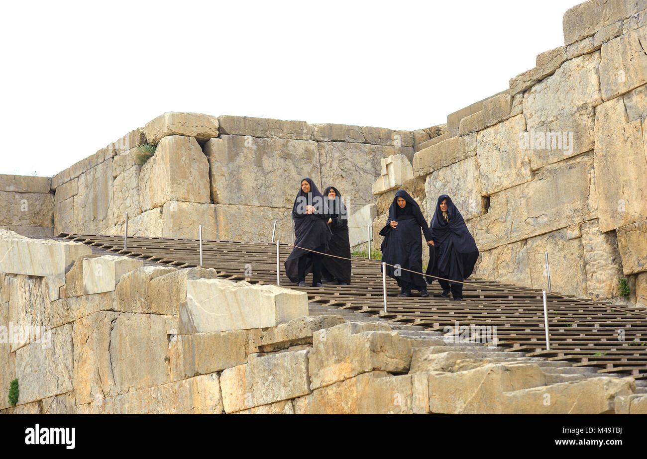 elderly women in hijabs walk according to the Persepolis - Stock Image