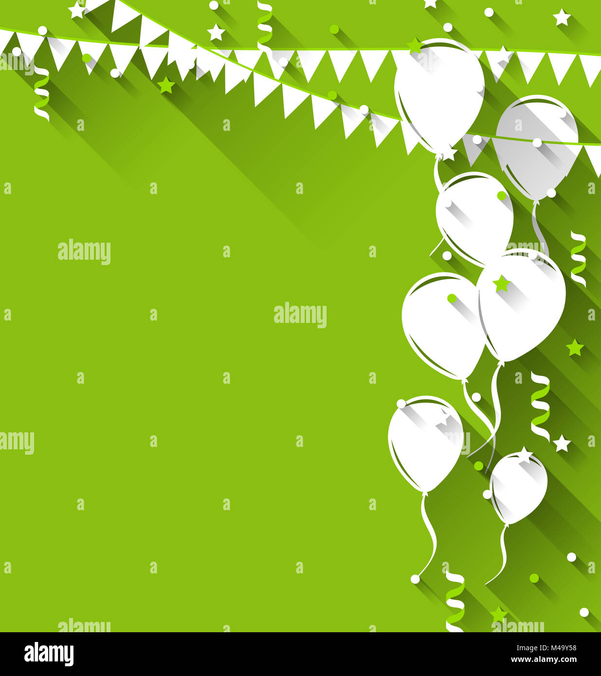 Happy birthday background with balloons and hanging pennants, tr - Stock Image