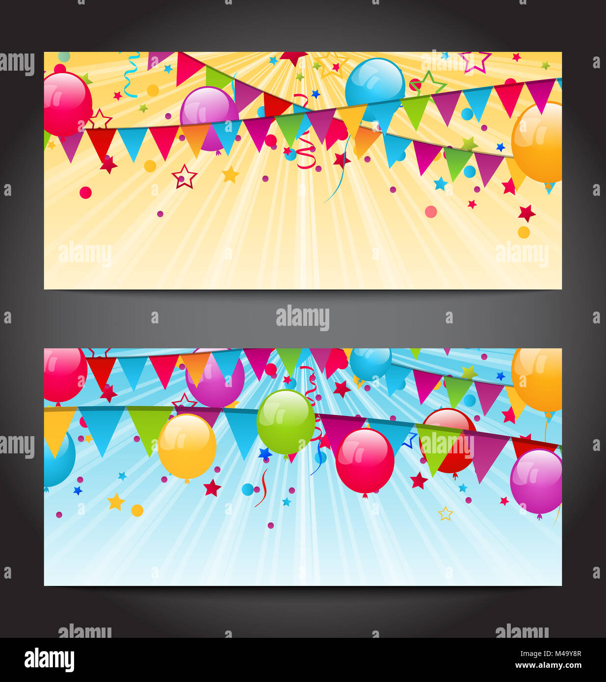 Abstract banners with colorful balloons, hanging flags and confe - Stock Image