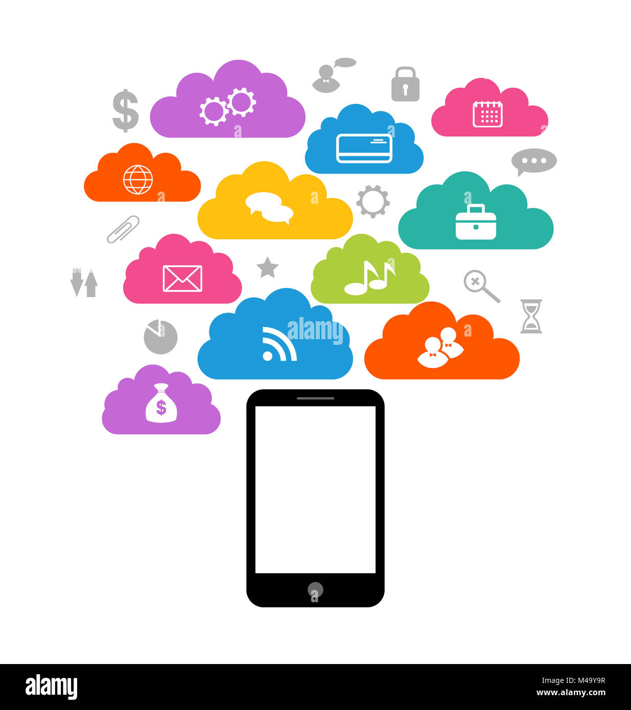 Smart device with cloud of application icons, business infograph - Stock Image