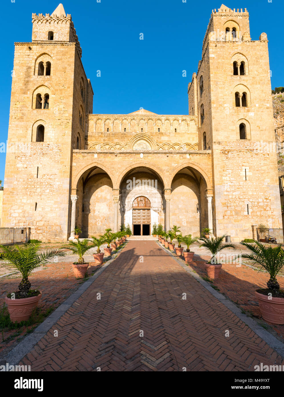 The imposing norman cathedral of Cefalu in Sicily - Stock Image