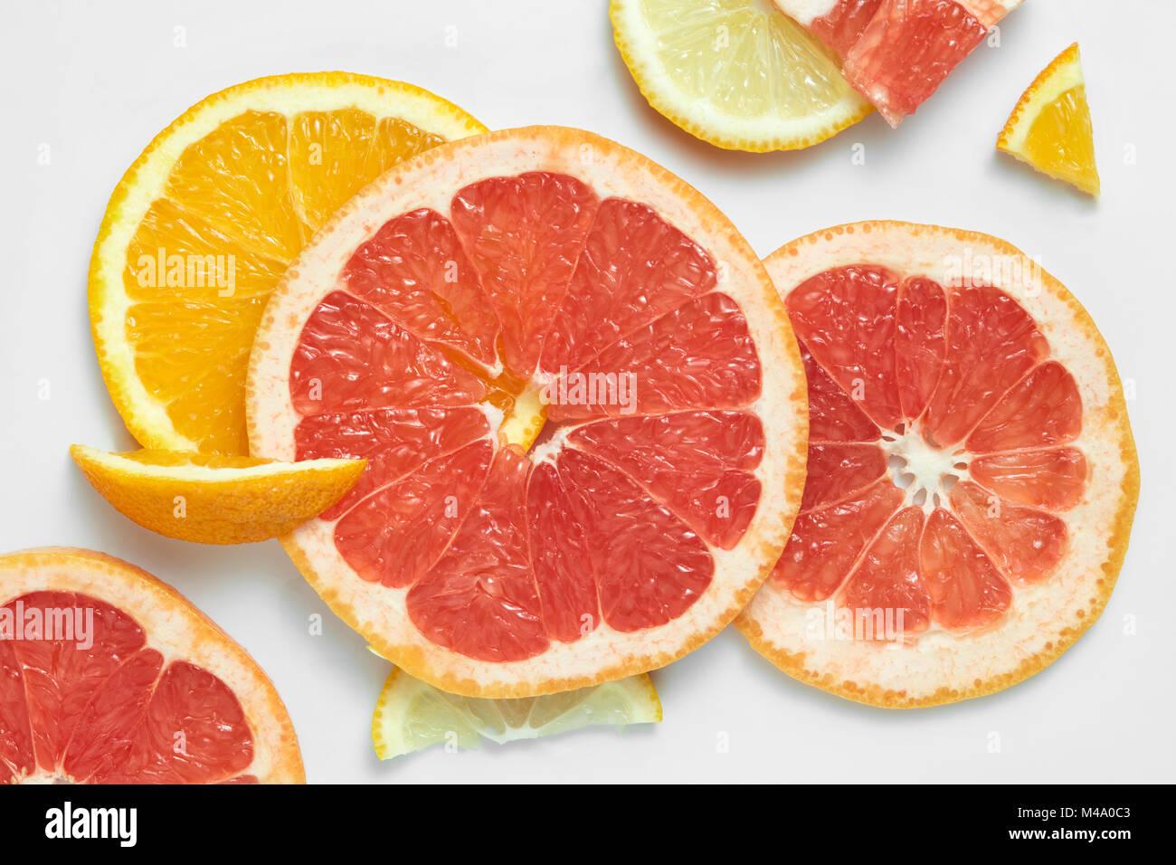 Mix fresh sliced orange, lemon and grapefruit Stock Photo