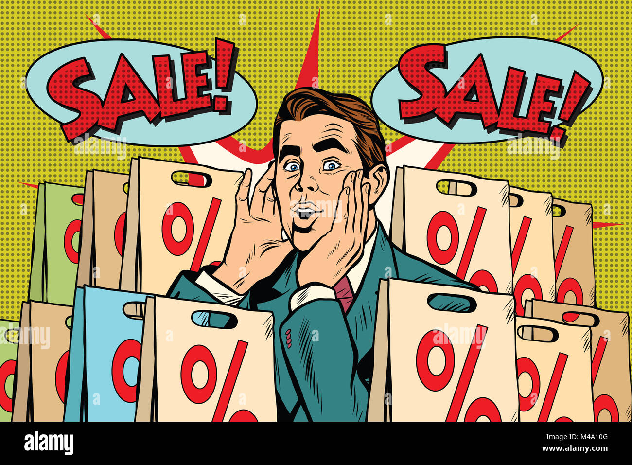 Pop art man buyer percent off sale - Stock Image