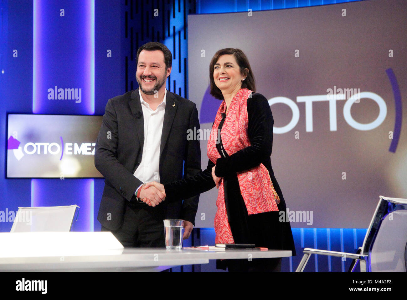 Matteo Salvini, leader of Northern League party, left, shakes hands with Laura Boldrini, president of the Chamber - Stock Image