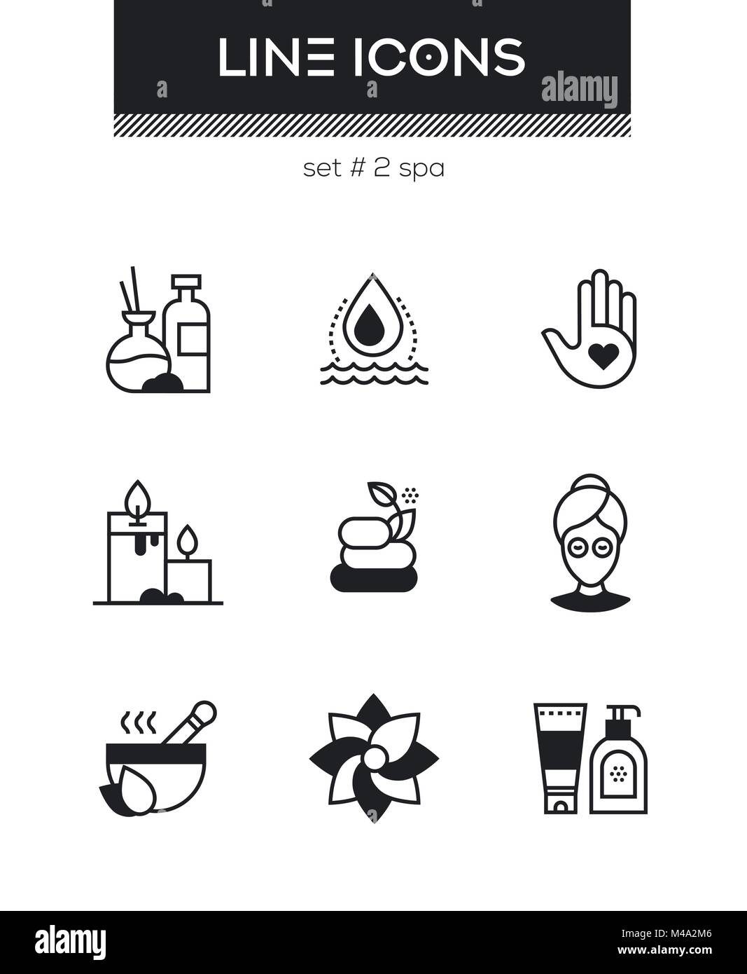 Beauty spa - set of line design style icons - Stock Vector