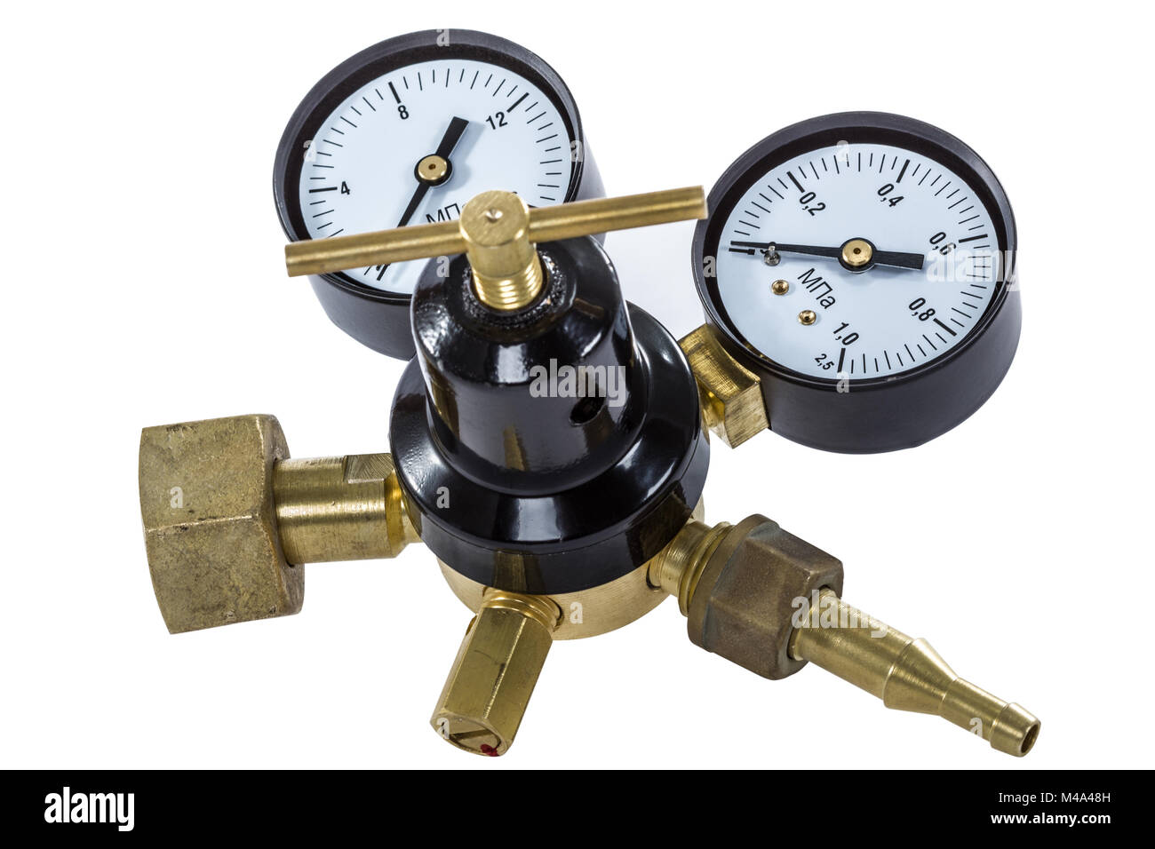 Gas pressure regulator with manometer, isolated with clipping path - Stock Image