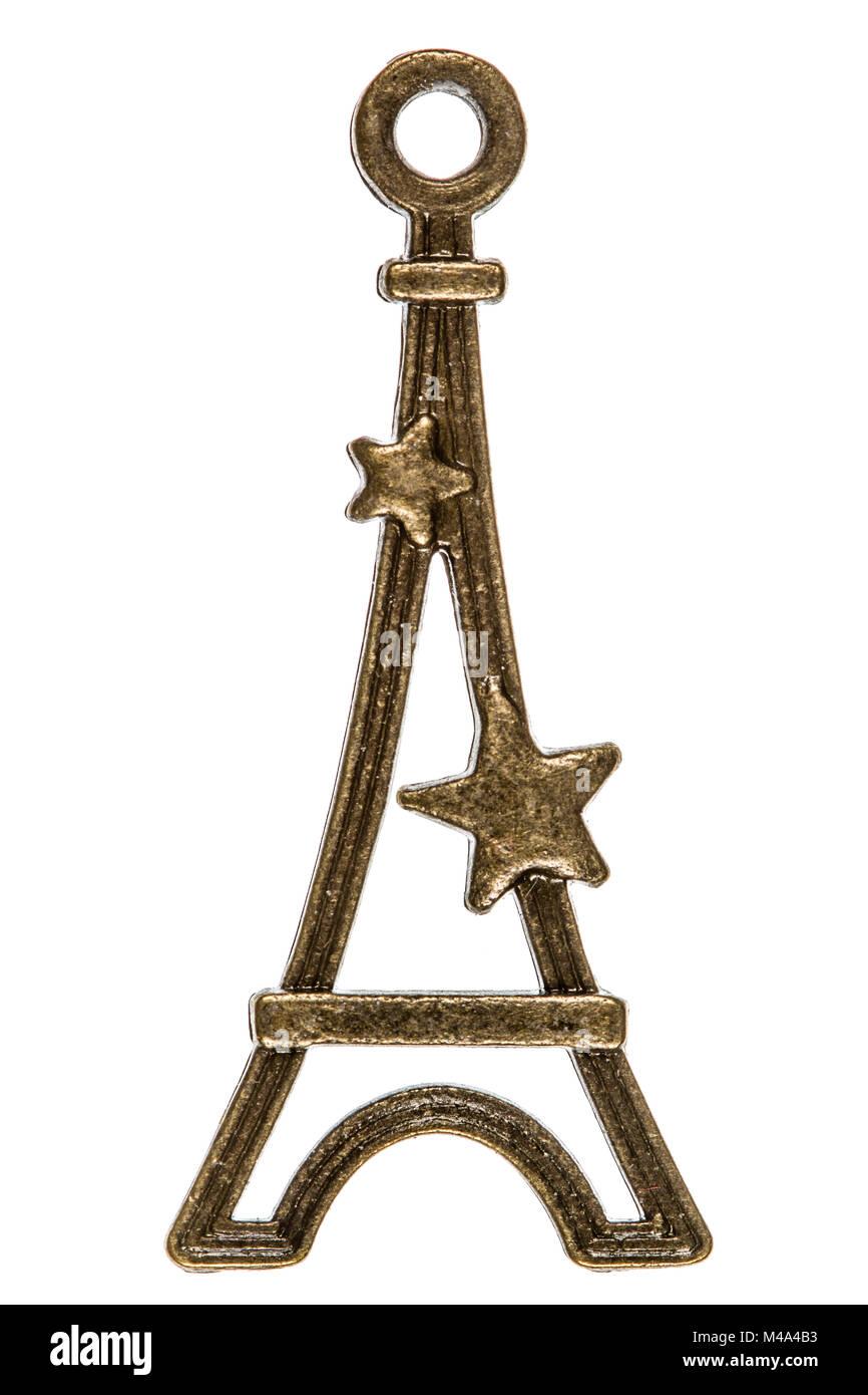 Eiffel Tower, decorative element, isolated on white background - Stock Image