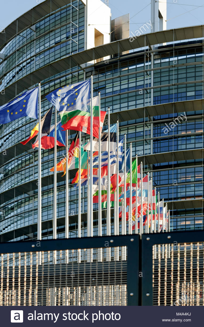 European Parliament facade with all EU European Union Country flags - Stock Image