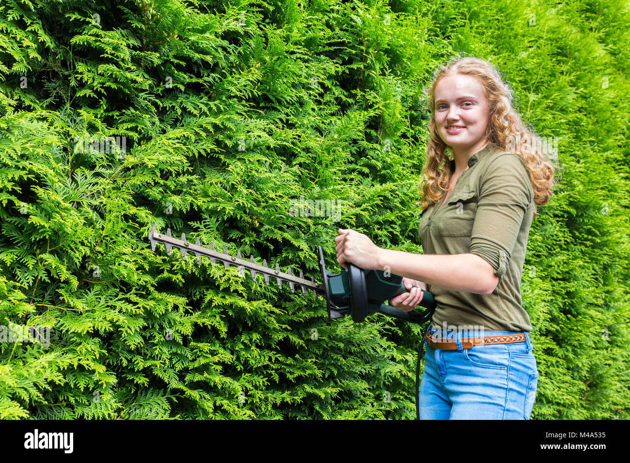 Young dutch woman holding hedge trimmer at conifers - Stock Image