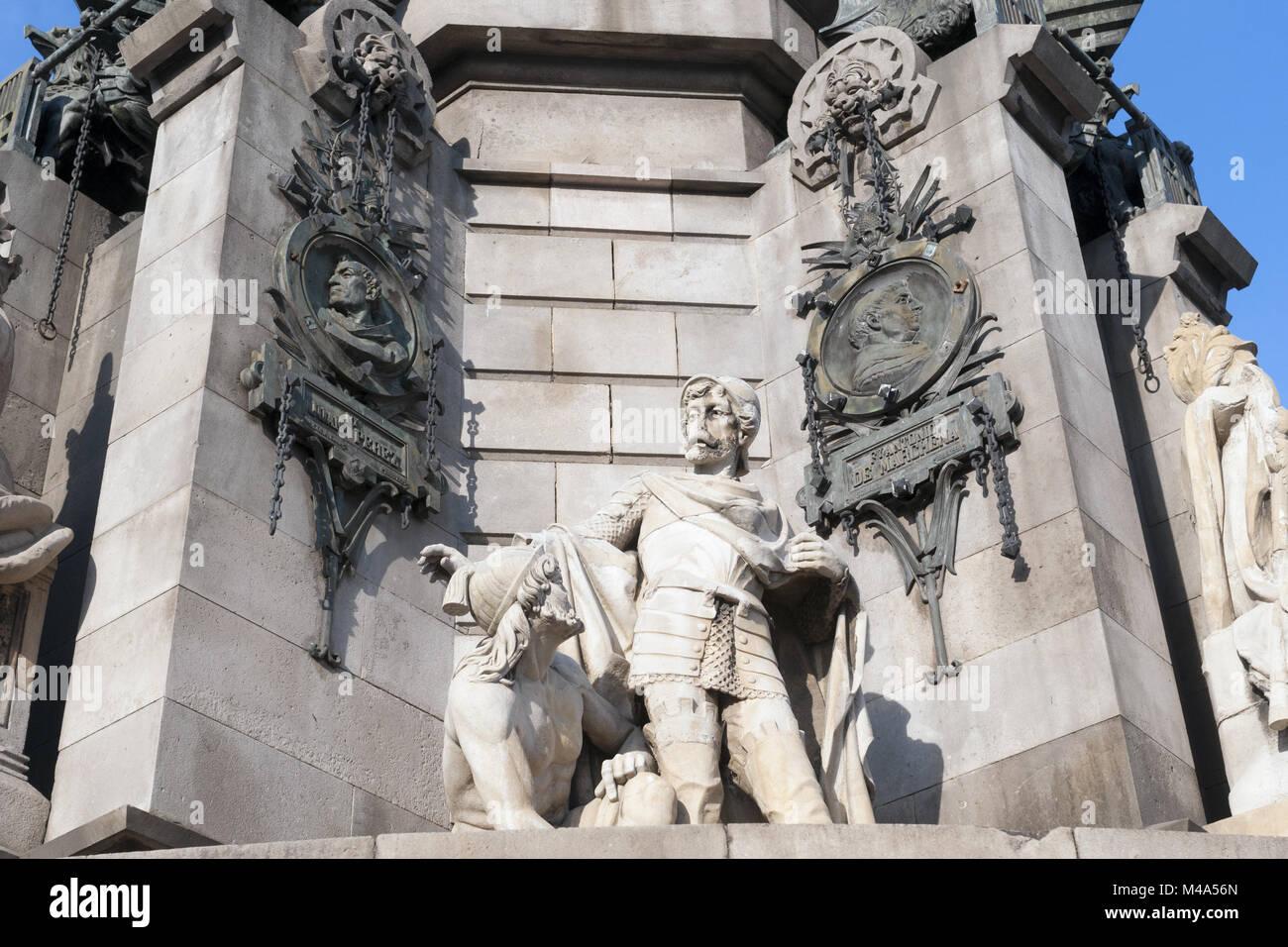 fragment of Columbus monument in Barcelona; this sculpture shows Captain Pedro Bertran i de Margarit - Stock Image