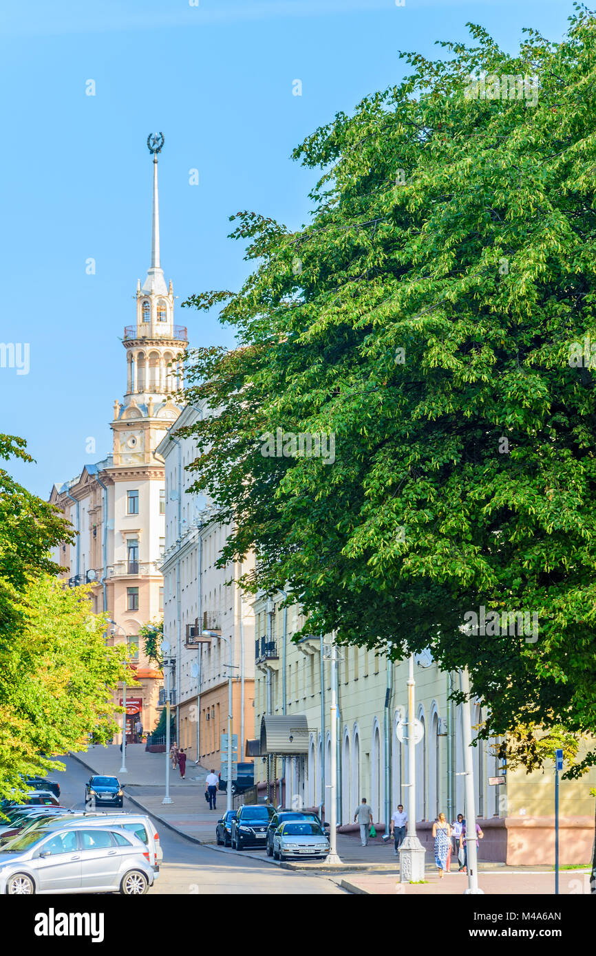City landscape. House with a spire the Stalinist classicism - Stock Image