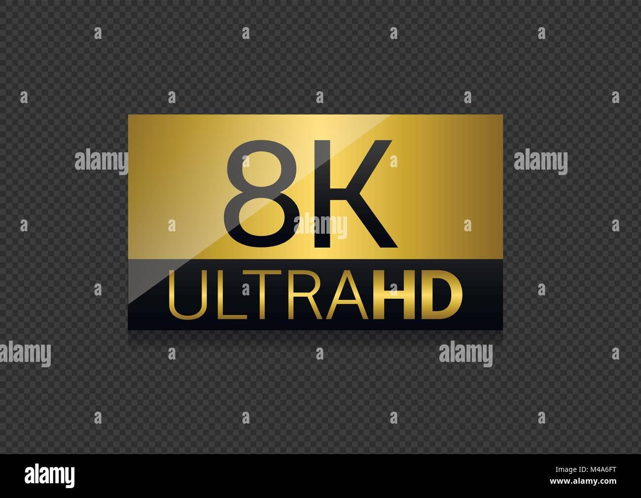 8K Ultra HD label - Stock Image