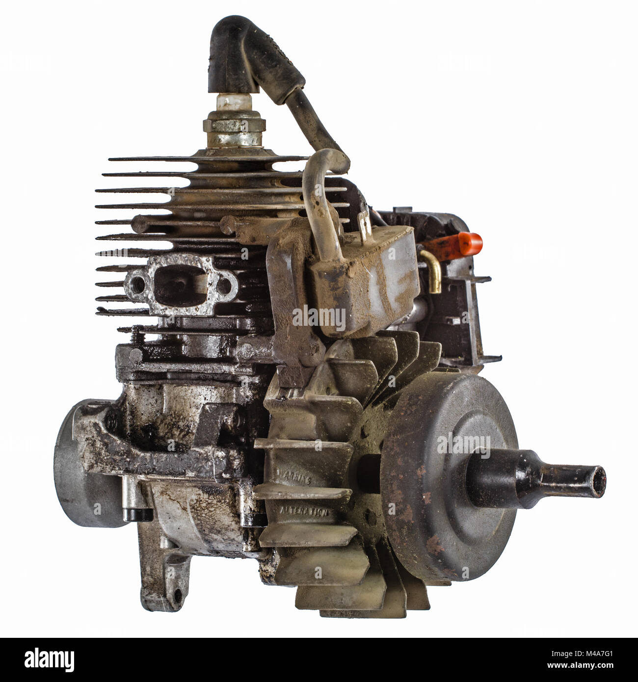 Old internal combustion engine, isolated on white background Stock Photo