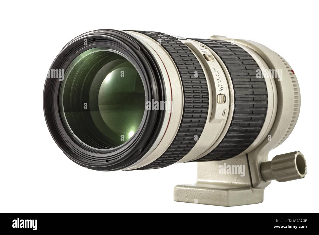 Zoom camera lens, isolated on white background Stock Photo