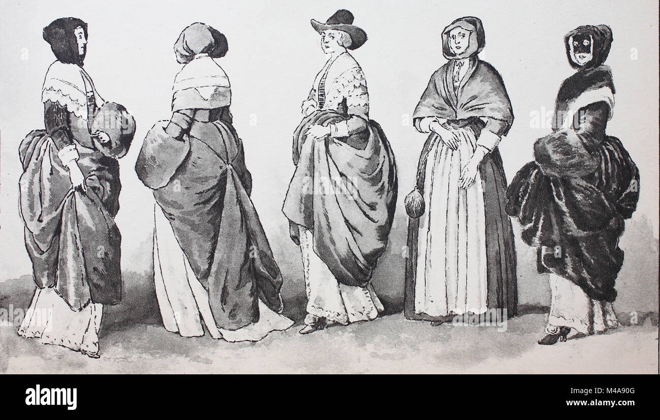 Fashion, clothing in England around 1640, after etchings by Wenzel Hollar, distinguished English ladies and one - Stock Image