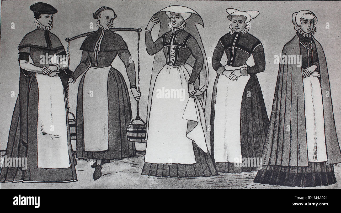 Fashion, clothes in Germany, civic costumes from 1560-1580, from the left, a craftswoman from Gdansk, a maid from - Stock Image