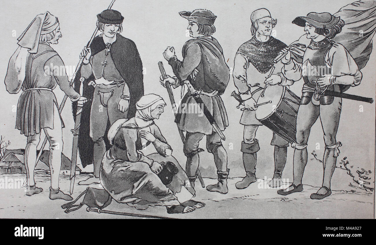 Fashion, clothing in Germany, around 1500, farmers from the time of the great peasant war from 1524 - 1525, digital - Stock Image