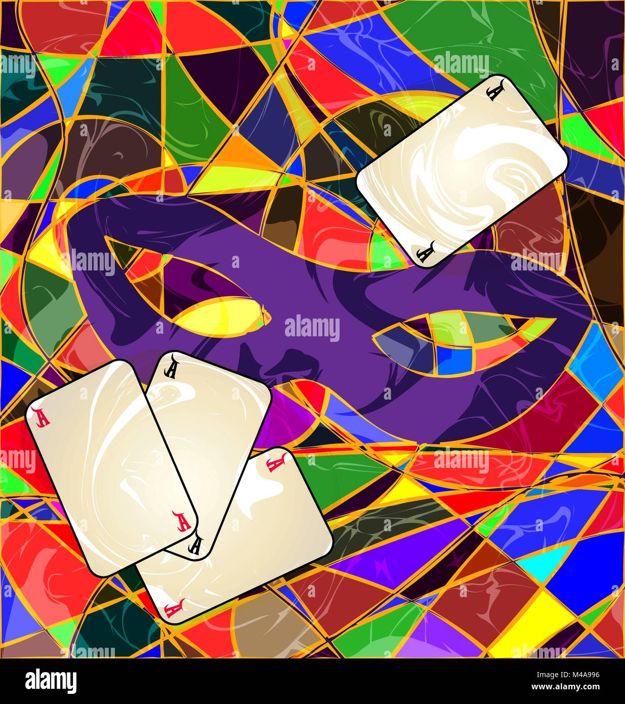 abstract image purple mask and cards - Stock Vector