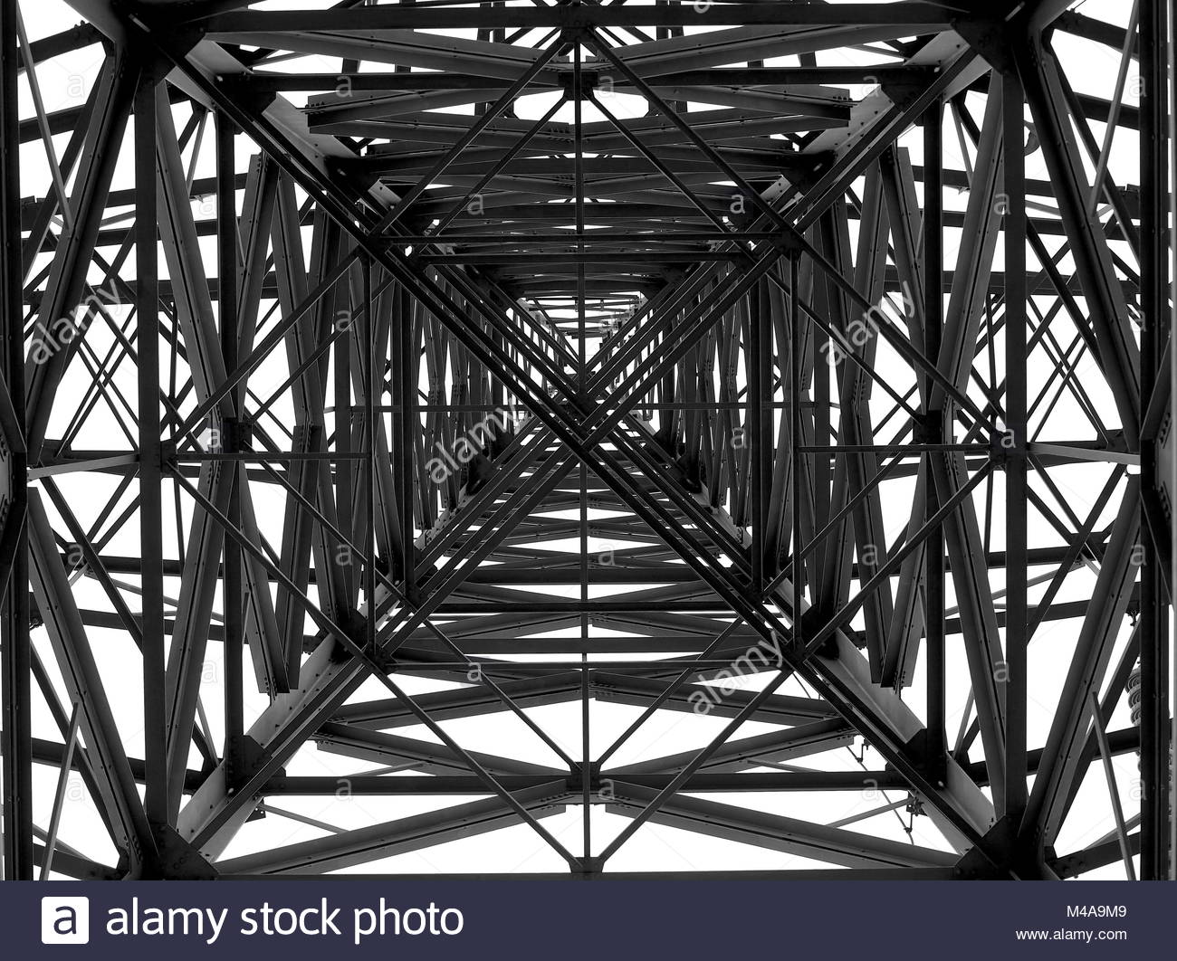 Image Of A Pylon Taken from Below Looking Straight Up April 2017 - Stock Image