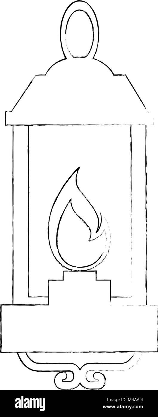 kerosene lantern hanging icon - Stock Image