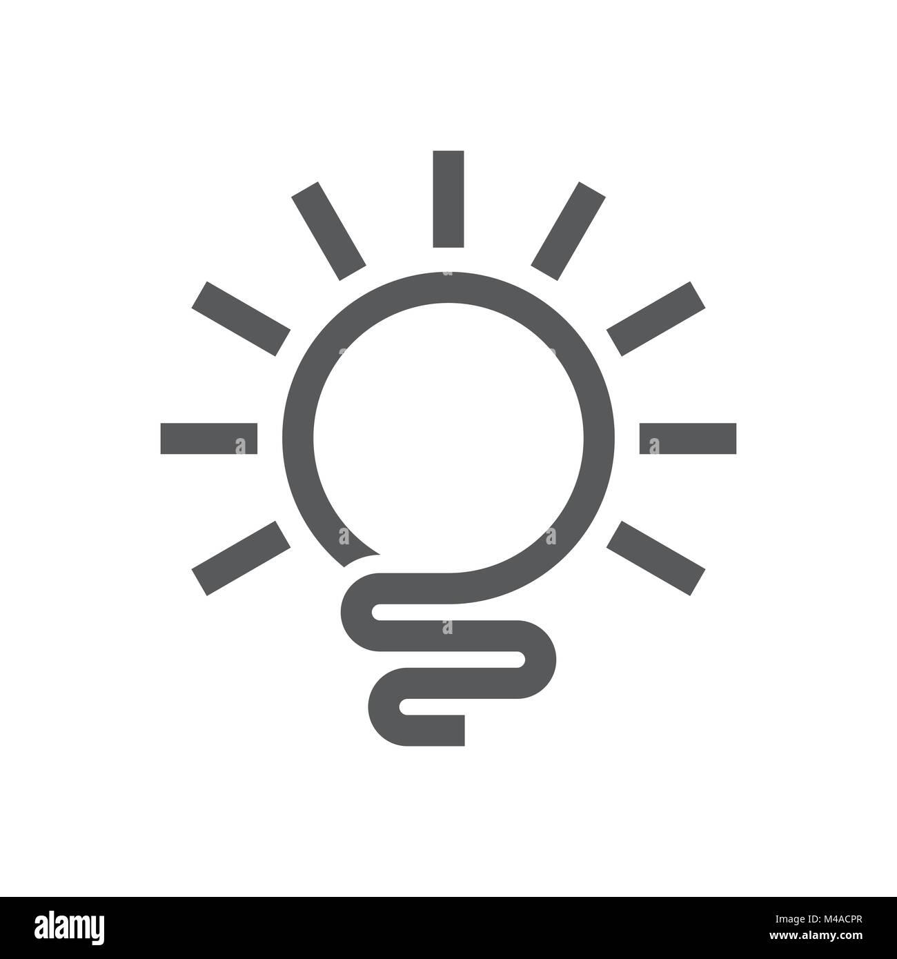 Abstract Light Bulb Line Art Logo Symbol Vector Graphic