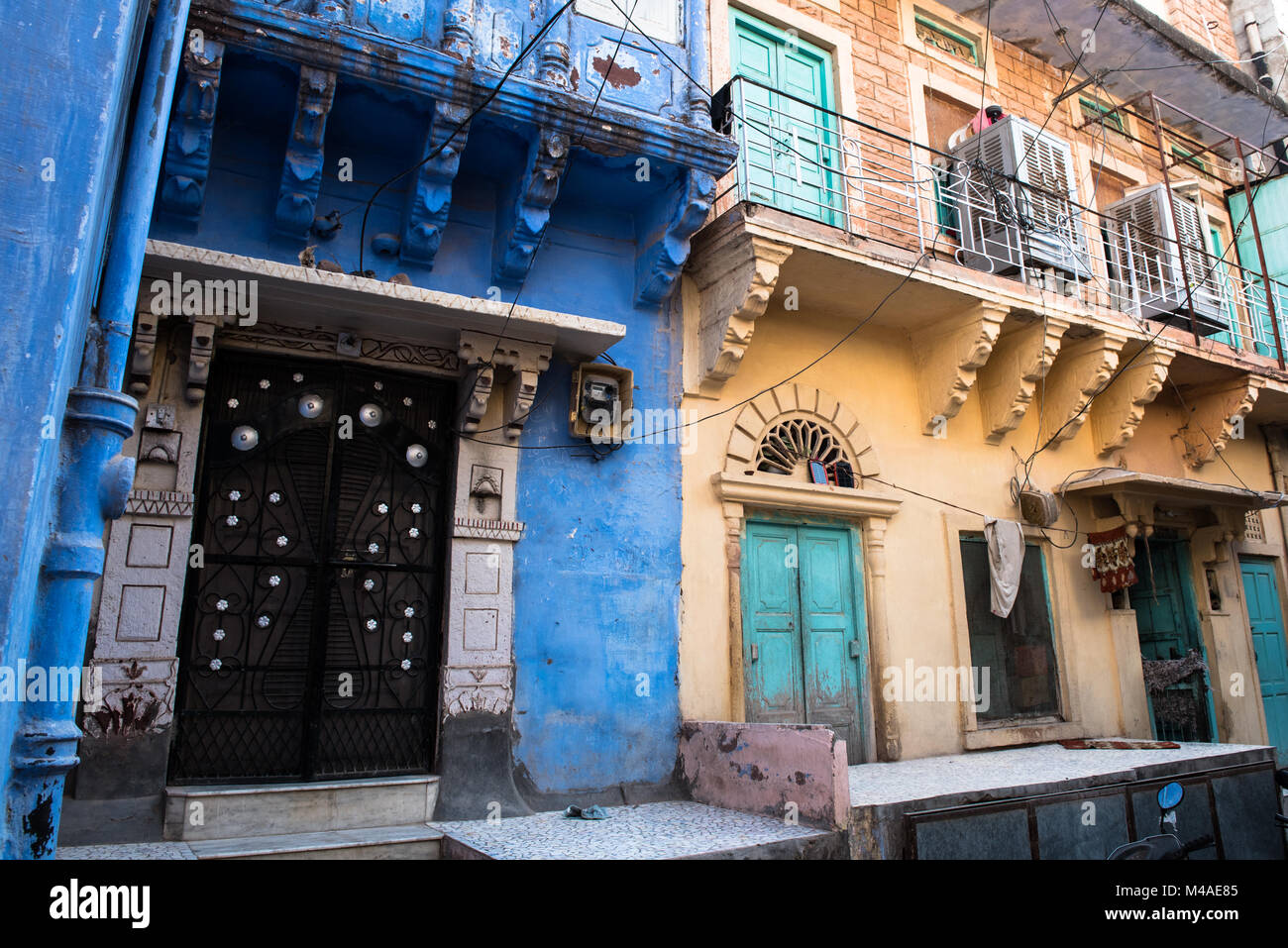 Exterior of a traditional colourful  Indian houses  at the blue city of Jodhpur at Rajasthan, India, Asia Stock Photo