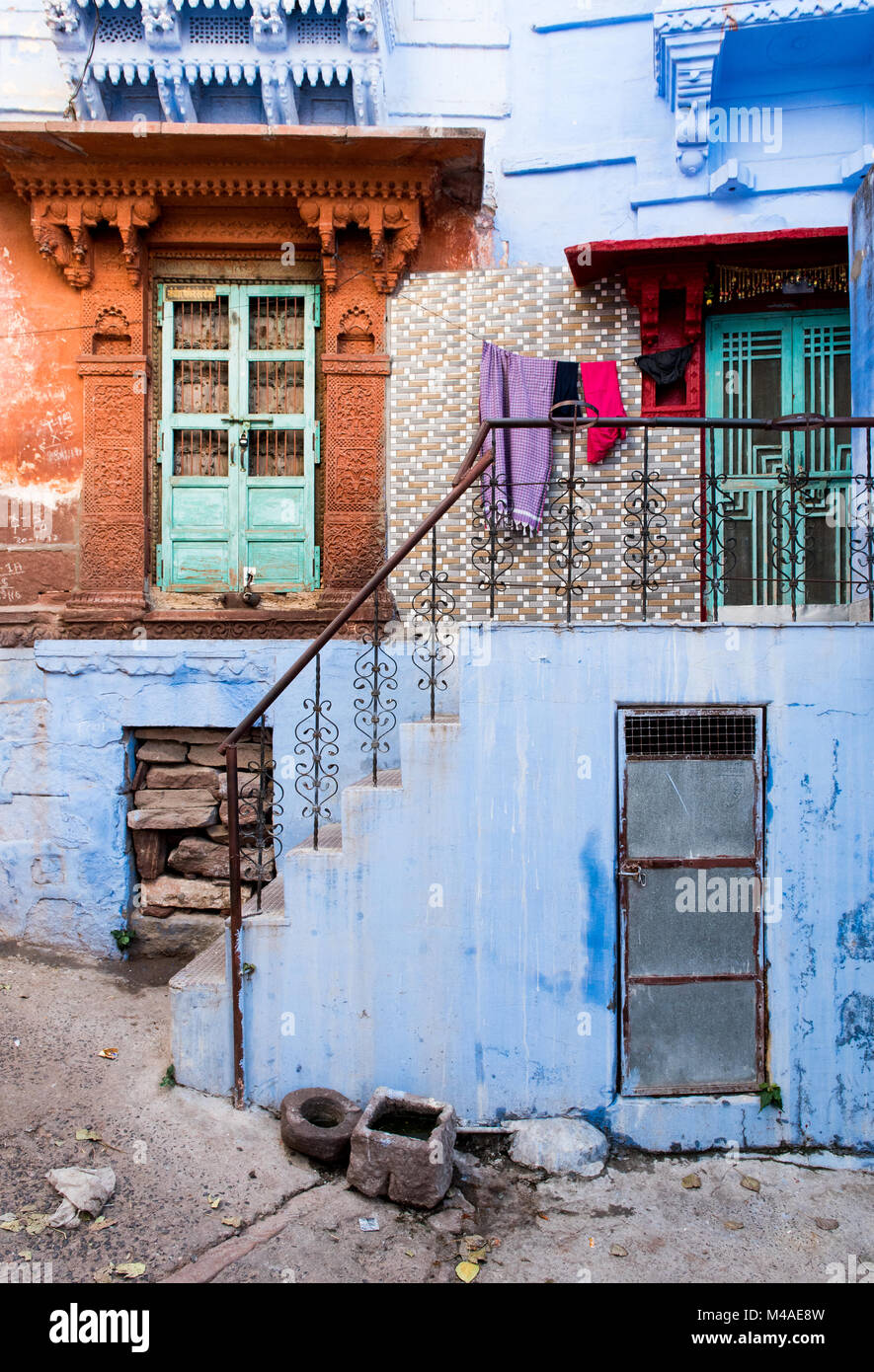 Exterior of a traditional colourful  Indian house at the blue city of Jodhpur at Rajasthan, India, Asia Stock Photo