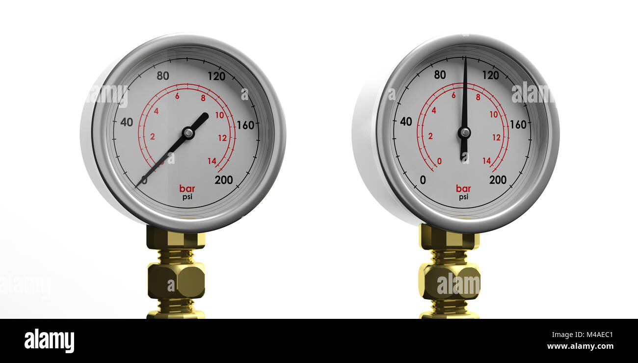 Two industrial high pressure gas manometers isolated on white background, front view. 3d illustration - Stock Image