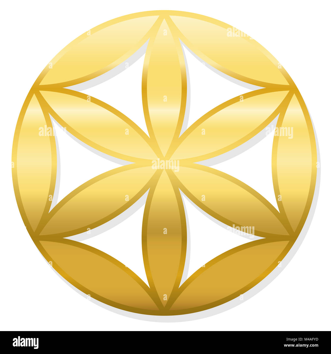 Golden Baby Flower of Life. Little geometrical figure, composed of multiple evenly-spaced, overlapping circles. - Stock Image