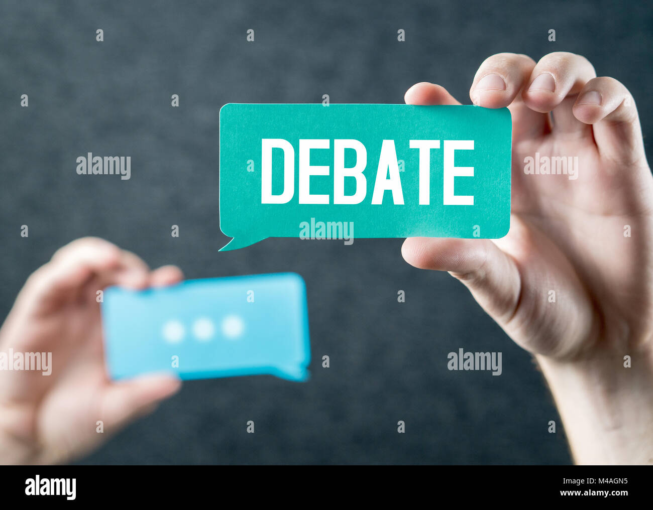 Debate, argument, controversy and disputation concept. Learning to be better speaker. Education to improve dialog. - Stock Image