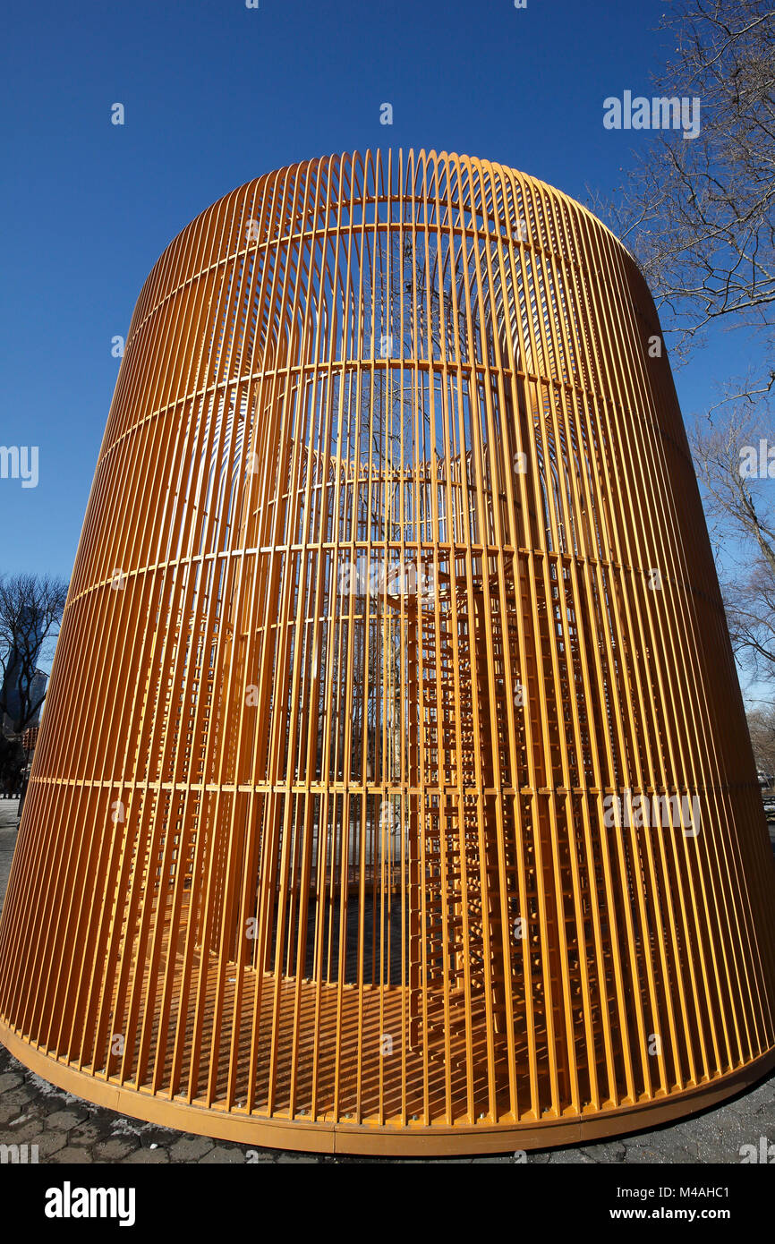Ai Weiwei's Gilded Cage art installation at entrance too Central Park in New York City - Stock Image