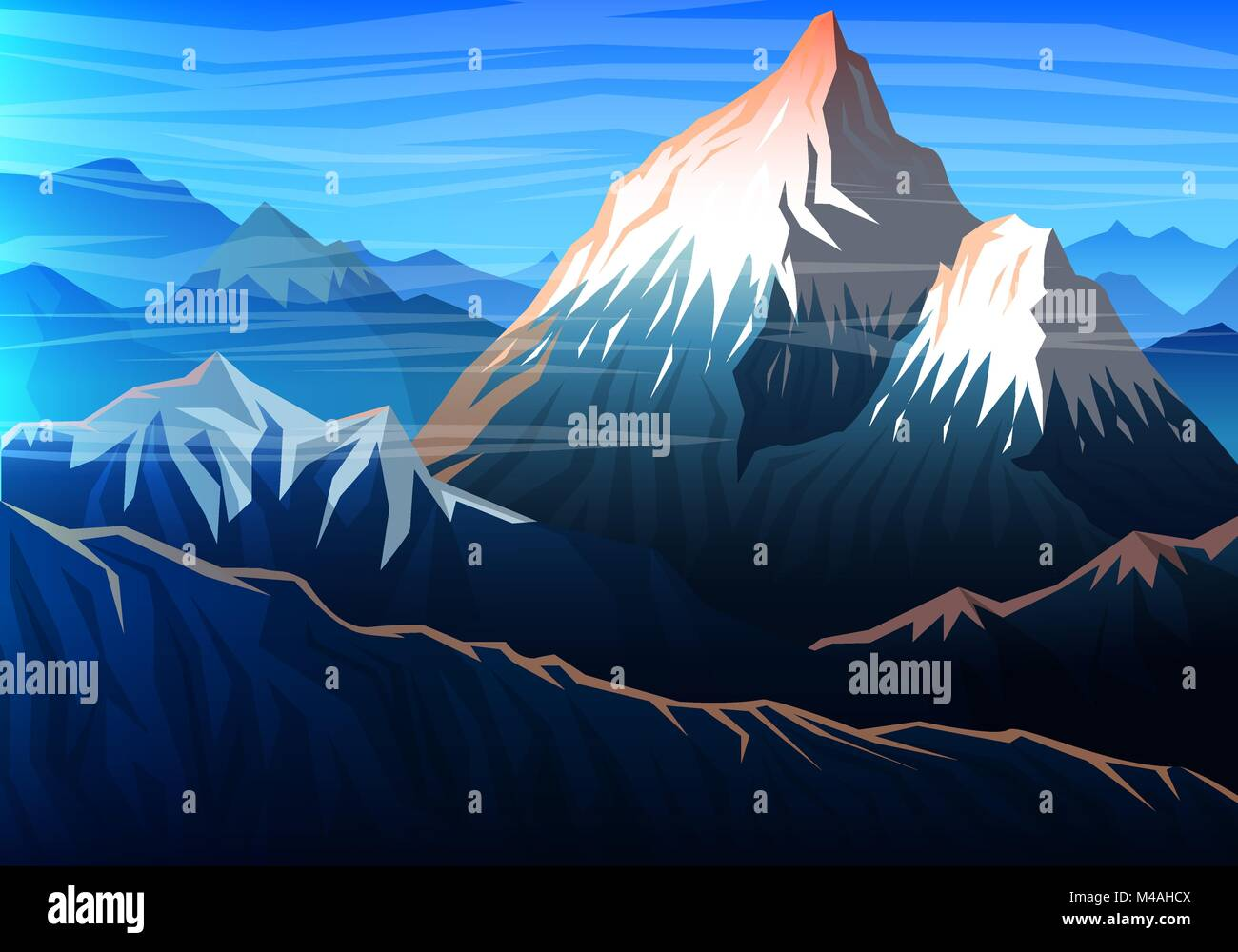 Mountain everest, Evening panoramic view of peaks, landscape early in a daylight. travel or camping, climbing. Outdoor - Stock Vector