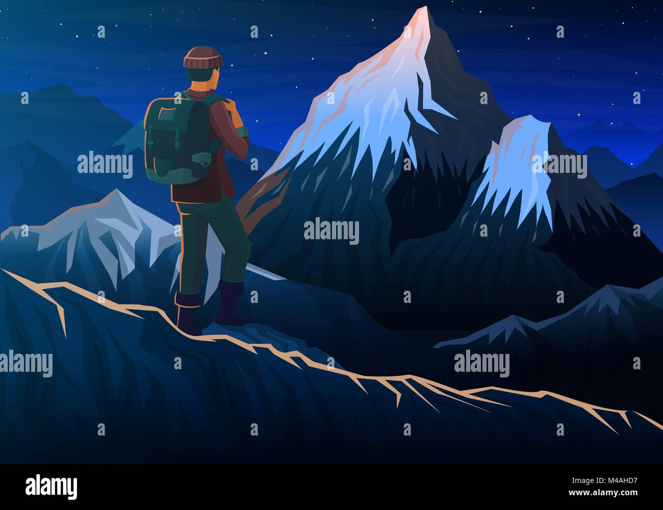 Mountain everest with tourist, Night panoramic view of peaks, landscape early in a daylight. travel or camping, - Stock Vector