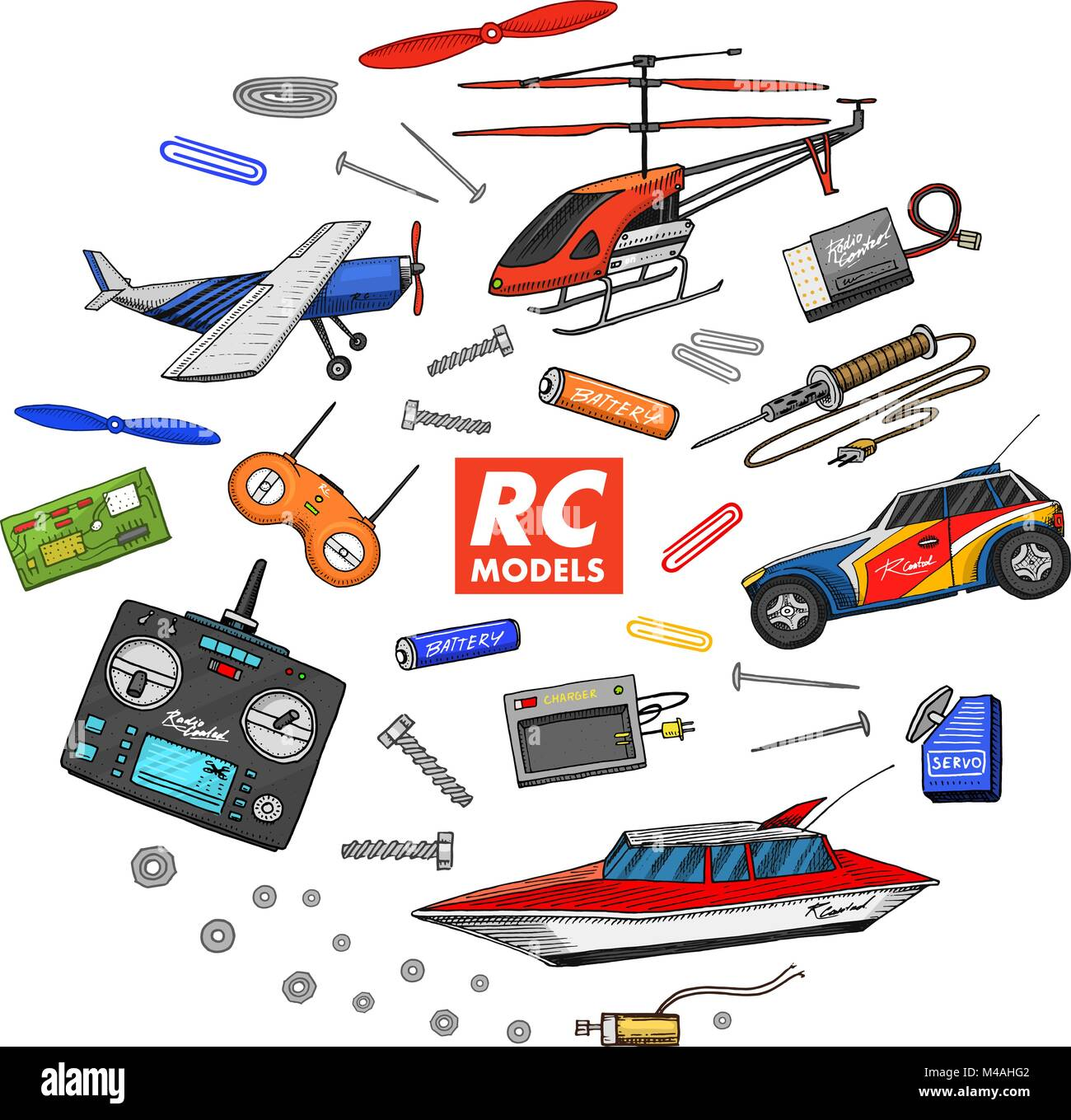 RC transport, remote control models  toys or instruments  set Stock