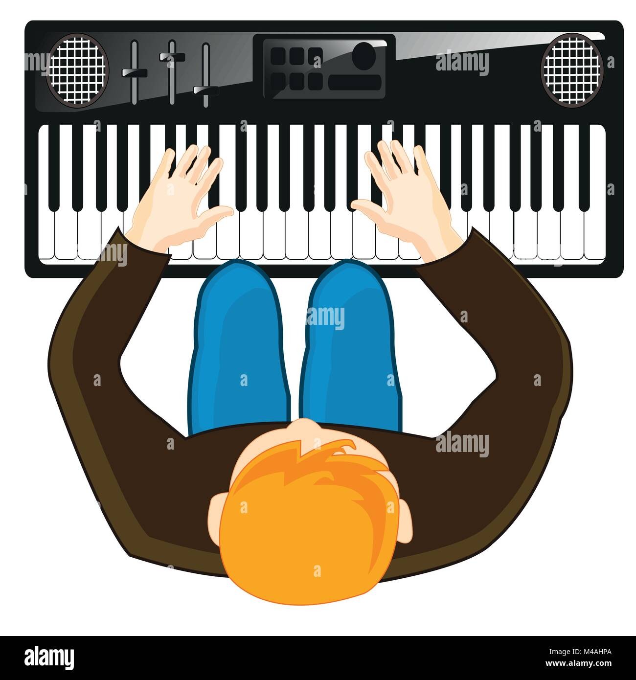 Musician plays on synthesizer - Stock Image