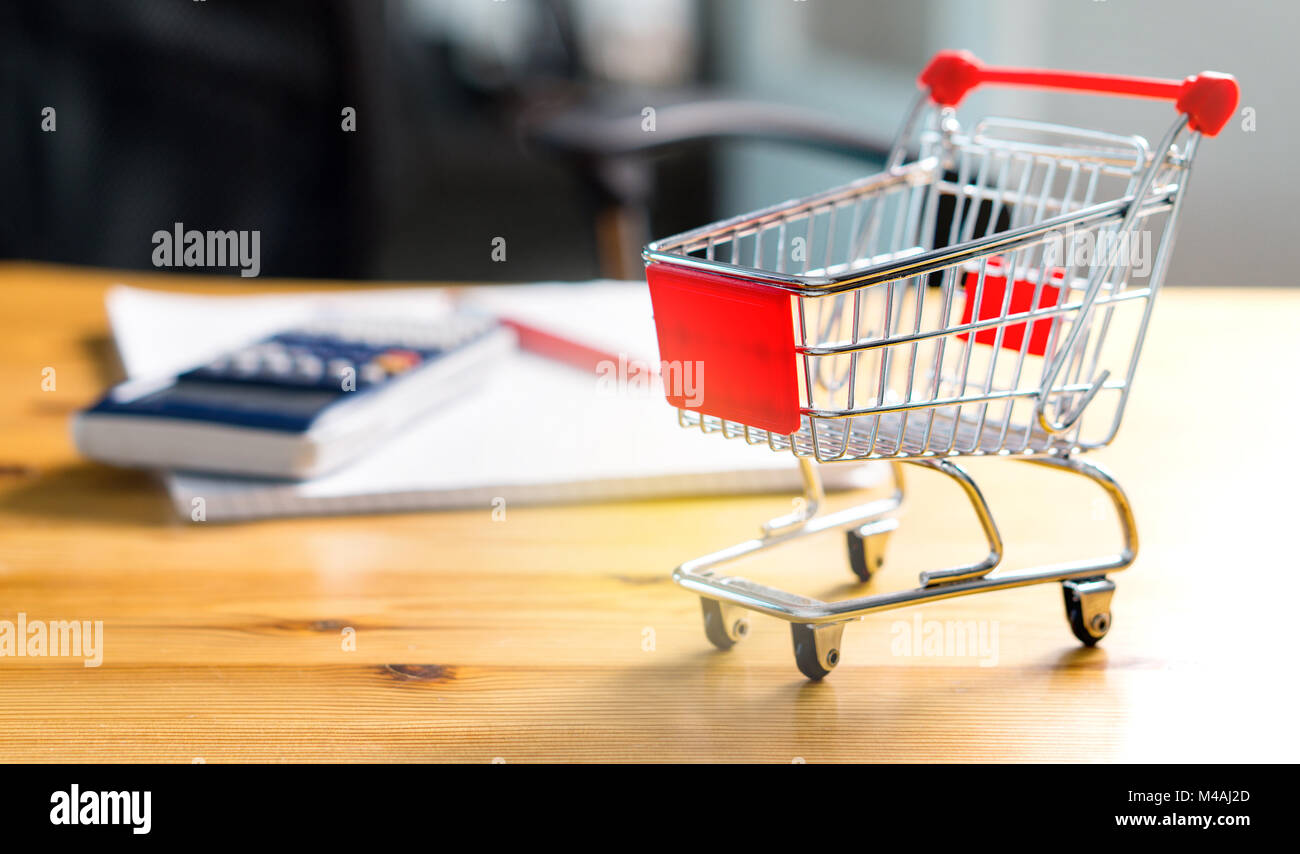 Budget of poor and low income family. Rising food and grocery store prices and expensive daily consumer goods concept. - Stock Image